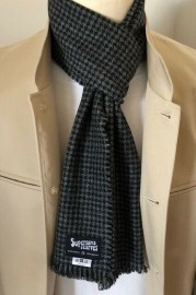Black & Grey Dogtooth Wool Scarf