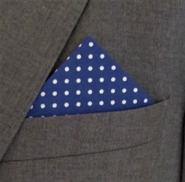 Blue Polka Dot Pocket Handkerchief