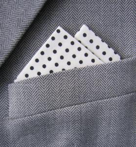 Cream & Black Polka Dot 2 Point Pocket Handkerchief