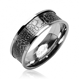 Stainless Steel Croc Inlay Scarf Ring
