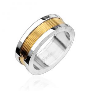 Stainless Steel 2 Tone Gold Plated Scarf Ring
