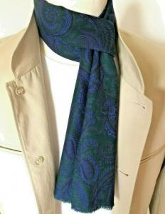 Vintage Green & Blue Paisley Mod Scarf