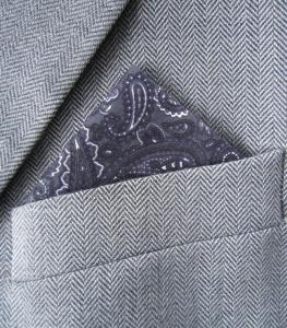 Grey Paisley Pocket Handkerchief