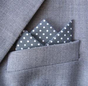 Grey Polka Dot 3 Point Pocket Handkerchief