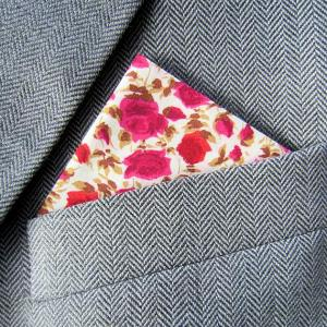 Liberty Lawn Red Rose Floral Pocket Handkerchief