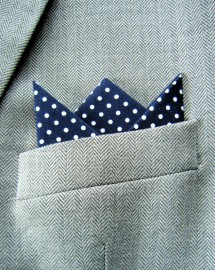 Navy Polka Dot 3 Point Pocket Handkerchief