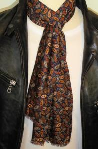 Navy & Tan Paisley Soft Touch Mod Scarf