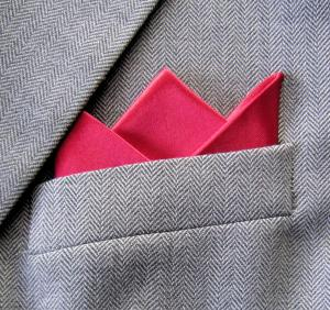 Red Satin 3 Point Pocket handkerchief