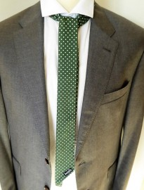 Skinny Green Polka Dot Shaped Mod Scarf