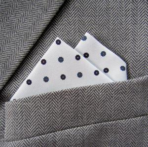 White & Navy Silk Floral Polka Dot 2 Point Pocket Handkerchief