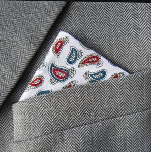White, Teal & Burgundy Paisley Pocket Handkerchief
